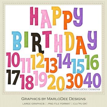 Rainbow Colors 1 Happy Birthday Word Art & Birthday Number