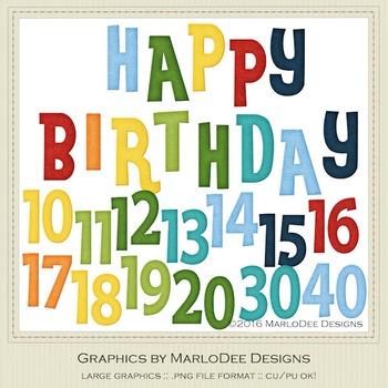 Rainbow Colors 2 Happy Birthday Word Art & Birthday Number Graphics