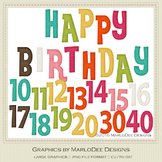 Rainbow Colors 3 Happy Birthday Word Art & Birthday Number Graphics