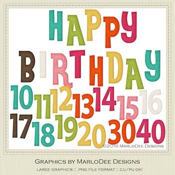 Rainbow Colors 3 Happy Birthday Word Art Number Graphics