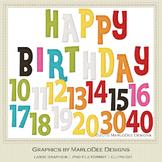 Rainbow Colors 4 Happy Birthday Word Art & Birthday Number Graphics