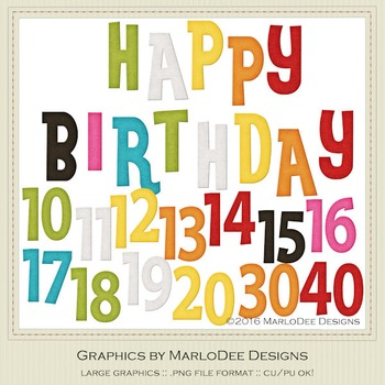 Rainbow Colors 4 Happy Birthday Word Art & Birthday Number