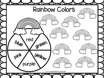 Rainbow Colors:  NO PREP Color Word Spin and Cover Game