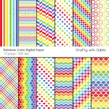 Rainbow Colors Pattern Digital Paper and Background Set