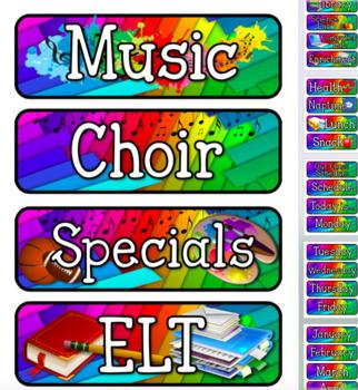 Rainbow Colors Pocket Chart Subject Schedule Cards & Calendar