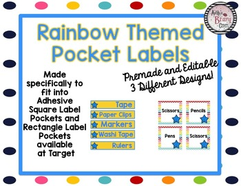 Rainbow Colors Themed Labels EDITABLE
