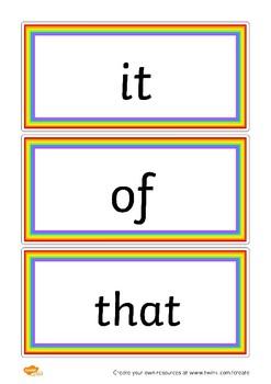 Rainbow Common Word Flashcards