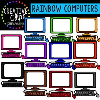 Rainbow Computers {Creative Clips Digital Clipart}
