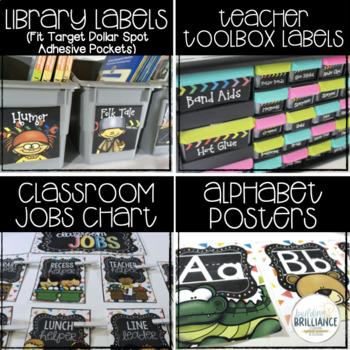 Rainbow Confetti & Chalkboard Complete Classroom Decor Set (EDITABLE)
