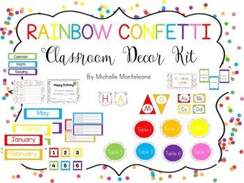 Rainbow Confetti Classroom Theme Kit
