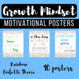Rainbow Confetti Growth Mindset Posters