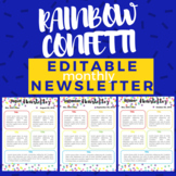 Rainbow Confetti Monthly Editable Newsletter Template