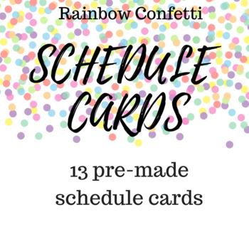 Rainbow Confetti Schedule Cards