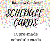 Rainbow Confetti Schedule Cards