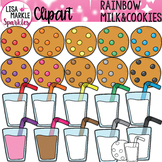 Rainbow Cookies and Milk Snack Clipart