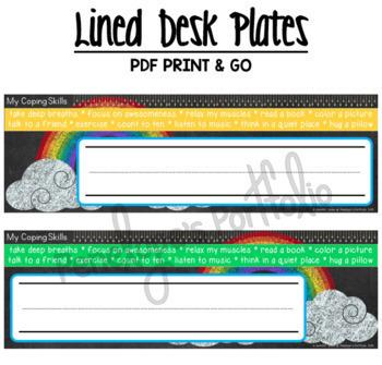 Desk Plates / Name Plates - Coping Skills, Rainbow Chalkboard Theme