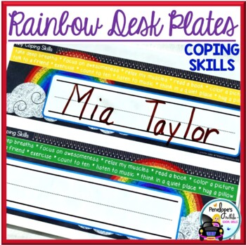 Desk Plates / Name Plates - Coping Skills, Rainbow Chalkboard Theme