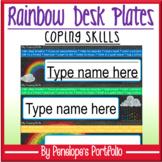 Desk Plates / Name Plates - Coping Skills, Rainbow Chalkbo