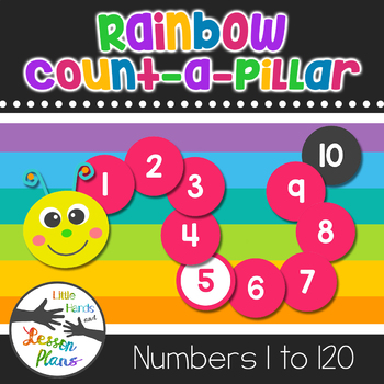 Rainbow Count-a-Pillar Featuring Numbers 1-120 - Different Color For Each Decade