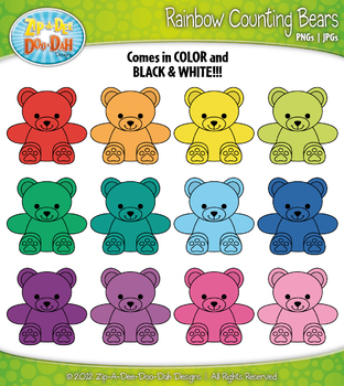 Rainbow Counting Bears Clipart {Zip-A-Dee-Doo-Dah Designs}