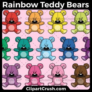 Rainbow Counting Bears Clipart - Teddy Bear Math Clipart