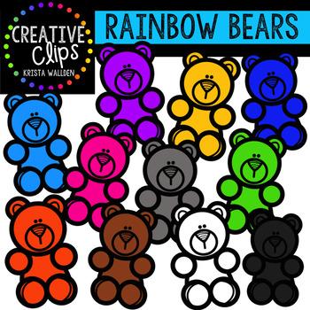 Rainbow Counting Bears {Creative Clips Clipart}