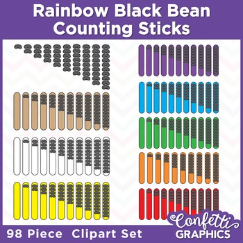 Rainbow Counting Popsicle Sticks Black Bean 98 Piece Clipart Set Counters Math