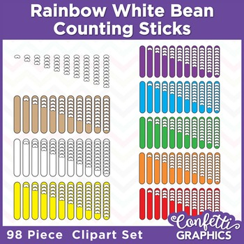 Rainbow Counting Popsicle Sticks White Bean 98 Piece Clipart Set Counters Math