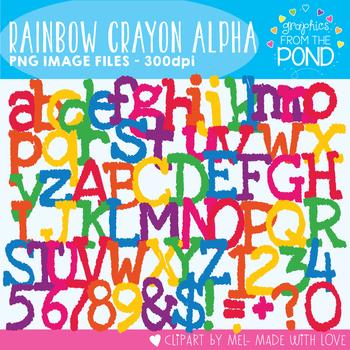 Rainbow Crayon Alphabet - Clipart For Teaching