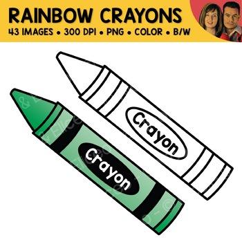 Rainbow Crayon Clipart (English + Spanish)