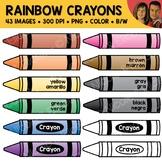 Rainbow Crayon Clipart (English + Spanish)