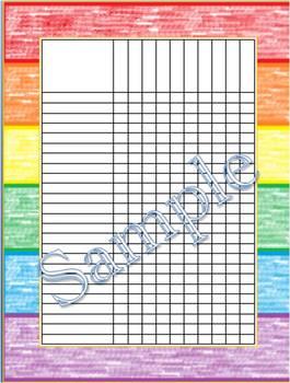 Rainbow Crayon Incentive Chart/Grade Chart