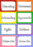 Rainbow Crayons A-Z Positive Words for Decorations/Inspira