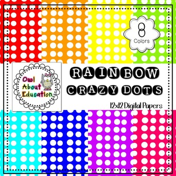 Rainbow Crazy Dots - Digital Paper Pack