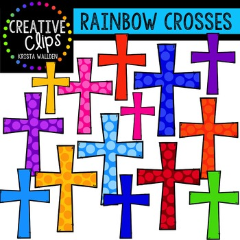 Rainbow Crosses {Creative Clips Digital Clipart}