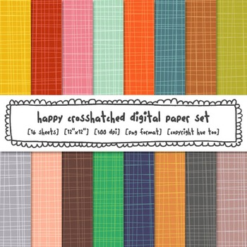 Rainbow Crosshatch Digital Paper Set, Bright Backgrounds for TpT Sellers