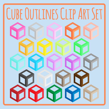 Rainbow Cube Outlines Clip Art Set for Commercial Use