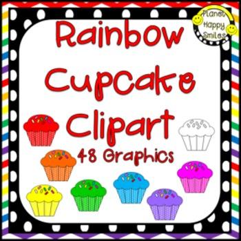 Rainbow Cupcake Clipart ~ 48 Graphics