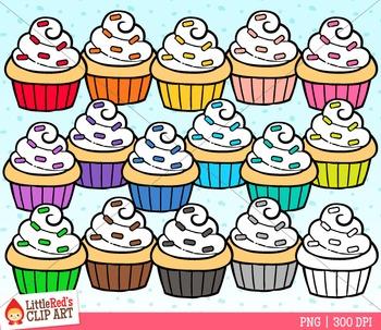 Rainbow Cupcakes Clip Art