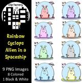 Rainbow Cyclops Alien in a Spaceship Clip Art