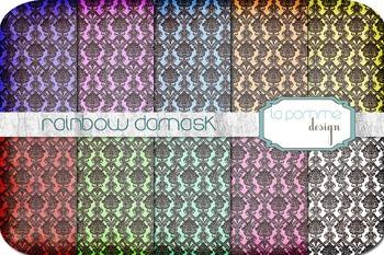 Rainbow Damask Patterned Digital Paper Pack Background