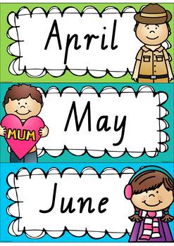 Rainbow Days & Months - Australian Holidays (VIC fonts)