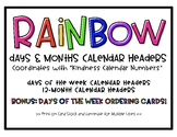 Rainbow Days & Months Calendar Headers