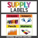 Rainbow Class Decor Supply Labels