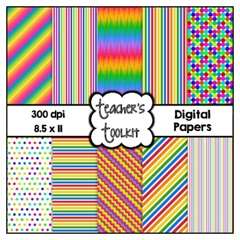 Rainbow Delight Digital Background Papers {8.5 x 11} Clip Art CU OK