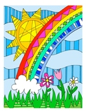 Rainbow DESIGN Coloring Page