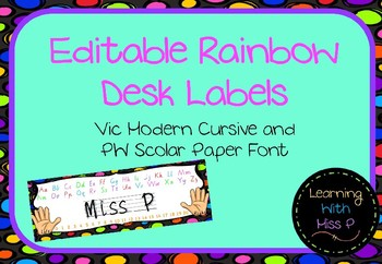 Rainbow Desk Labels