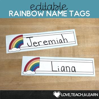 Rainbow Desk Name Plates : Editable Desk Strips