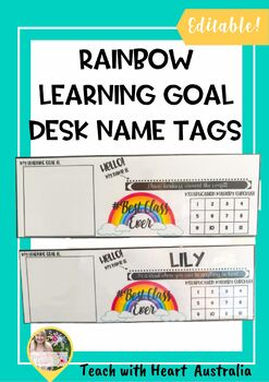 Rainbow Desk Name Tags with space for sticky note learning goal!