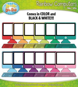 Rainbow Desktop Computer Clip Art — Includes 18 Graphics!